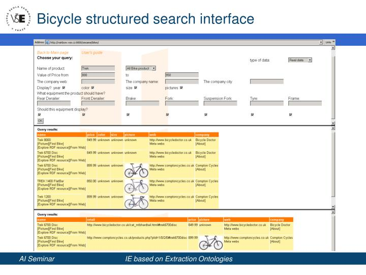 Bicycle structured search interface