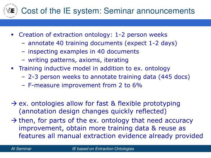 Cost of the IE system: Seminar announcements
