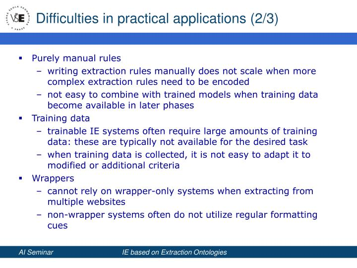 Difficulties in practical applications (2/3)