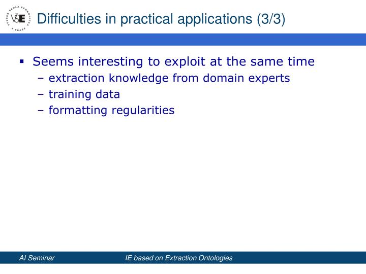 Difficulties in practical applications (3/3)
