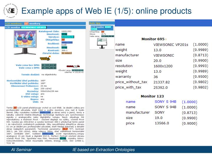 Example apps of web ie 1 5 online products