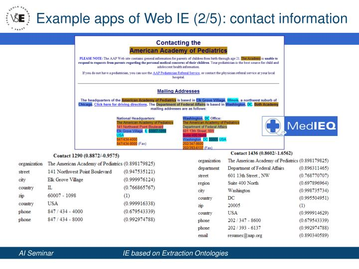 Example apps of Web IE (2/5): contact information