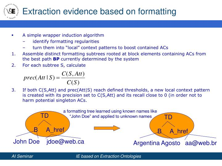Extraction evidence based on formatting