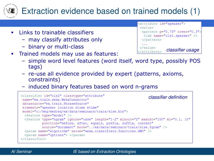 Extraction evidence based on trained models (1)