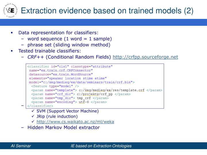 Extraction evidence based on trained models (2)