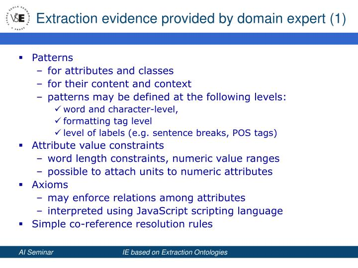 Extraction evidence provided by domain expert (1)