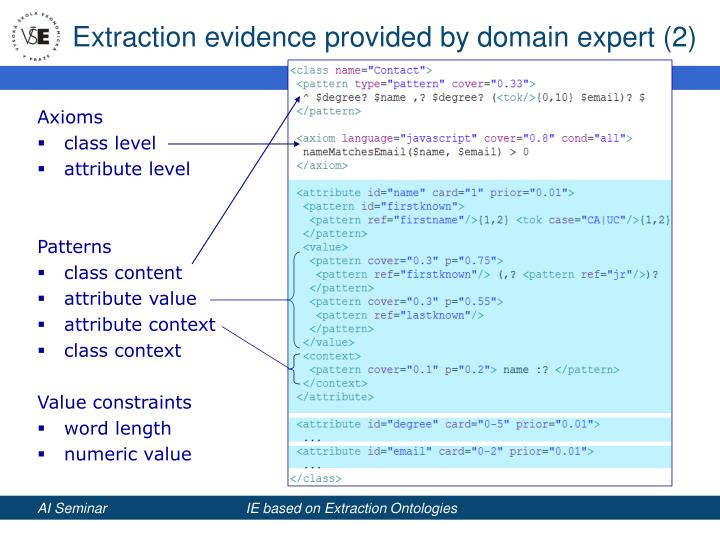 Extraction evidence provided by domain expert (2)