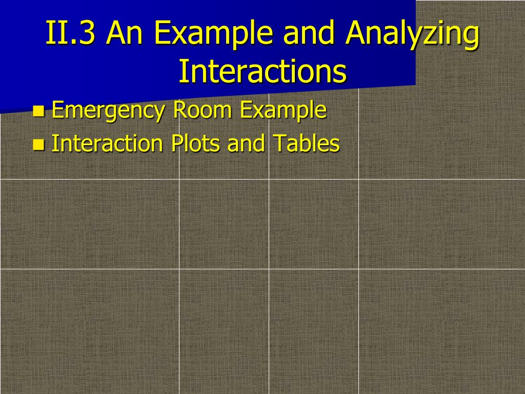 II.3 An Example and Analyzing Interactions