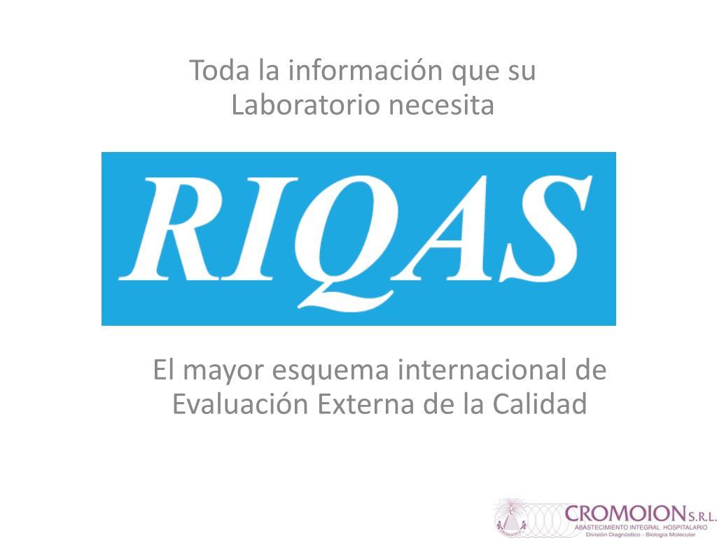 el mayor esquema internacional de evaluaci n externa de la calidad l.