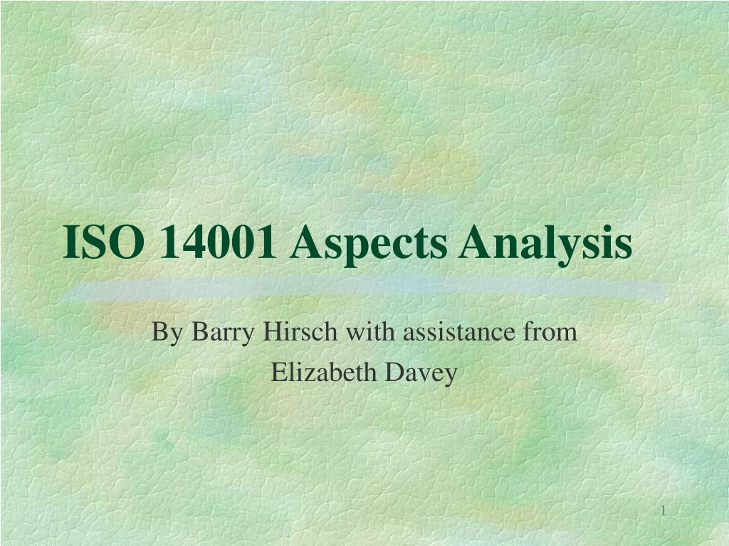 iso 14001 aspects analysis l.
