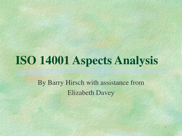iso 14001 aspects analysis n.