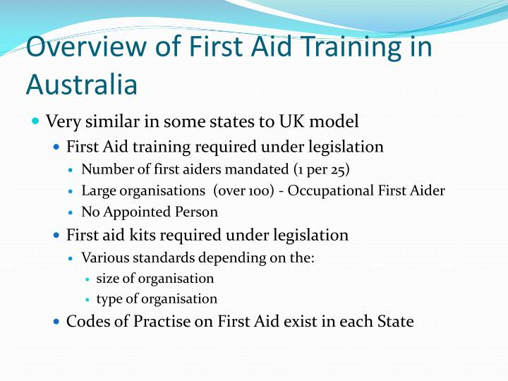 Overview of first aid training in australia