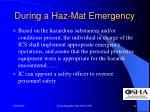 during a haz mat emergency