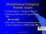 miscellaneous emergency related issues