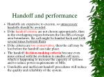 handoff and performance