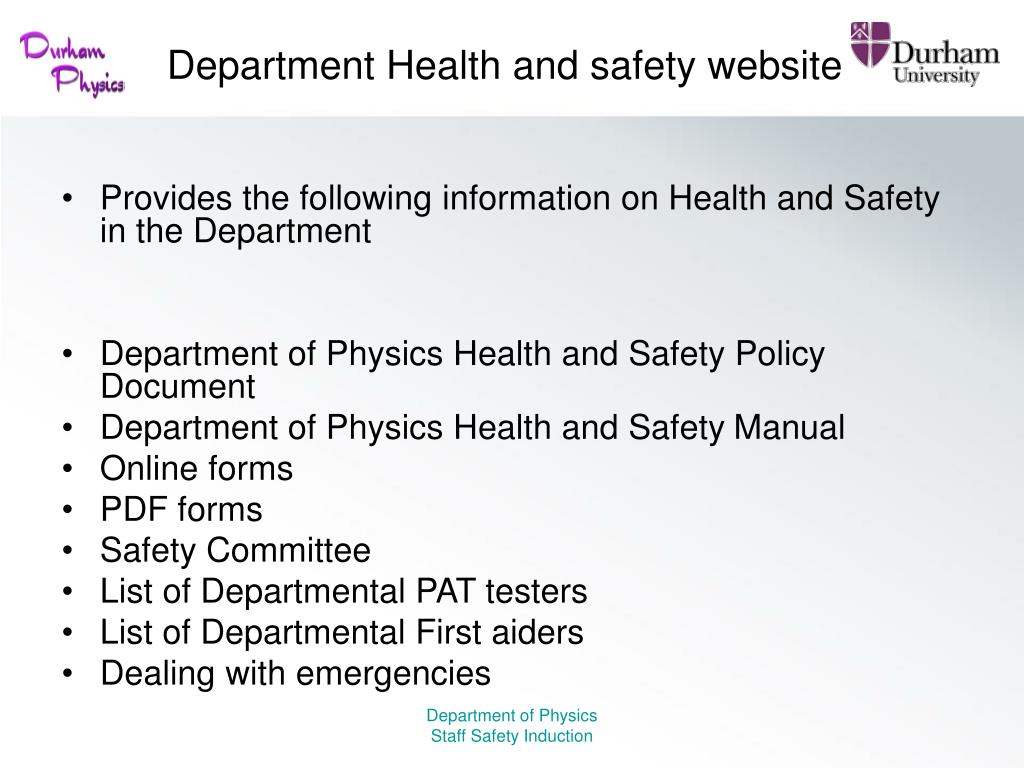Department Health and safety website