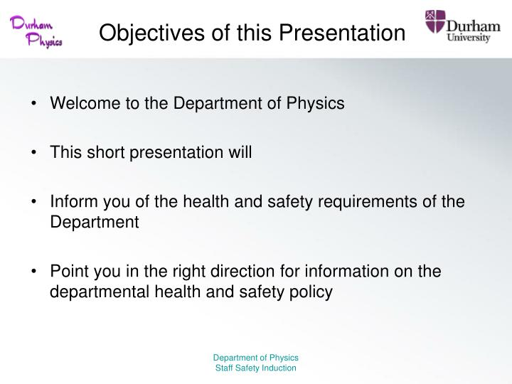 Objectives of this presentation