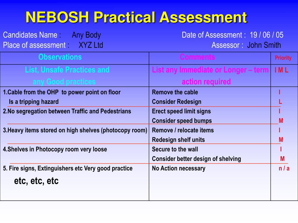 NEBOSH Practical Assessment