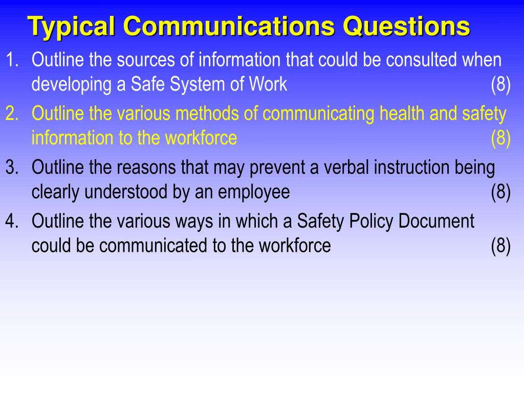 Typical Communications Questions