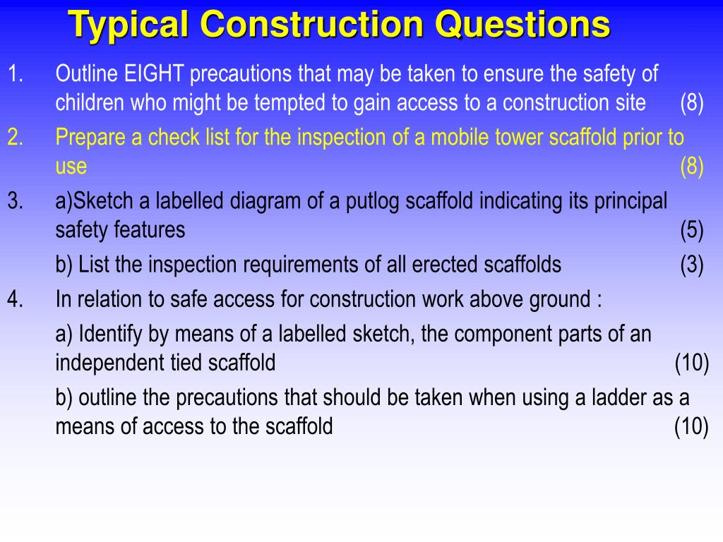 Typical Construction Questions