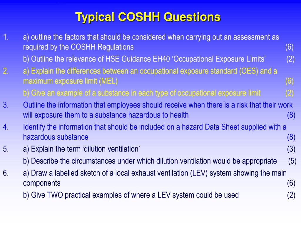 Typical COSHH Questions