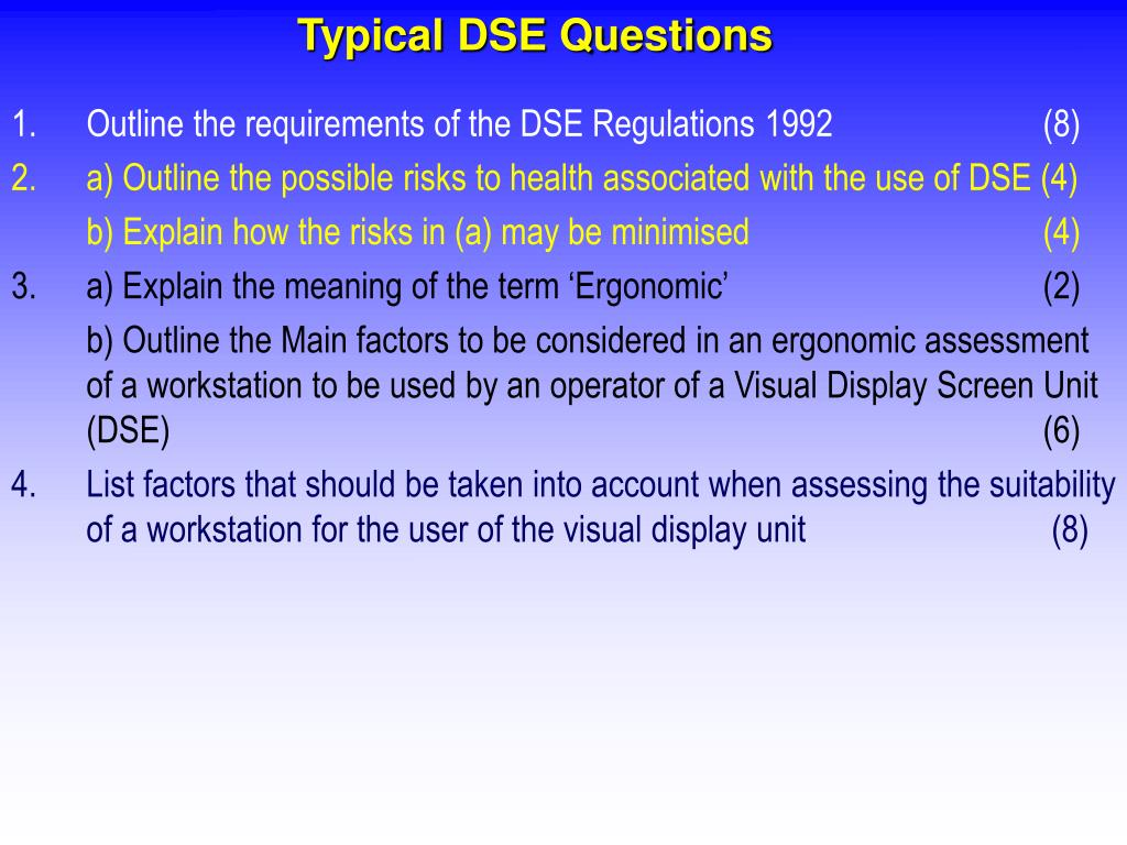 Typical DSE Questions