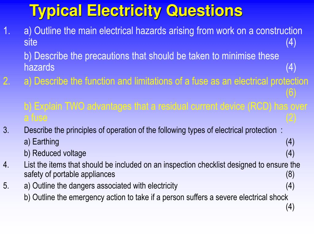 Typical Electricity Questions