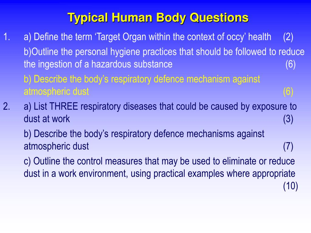 Typical Human Body Questions