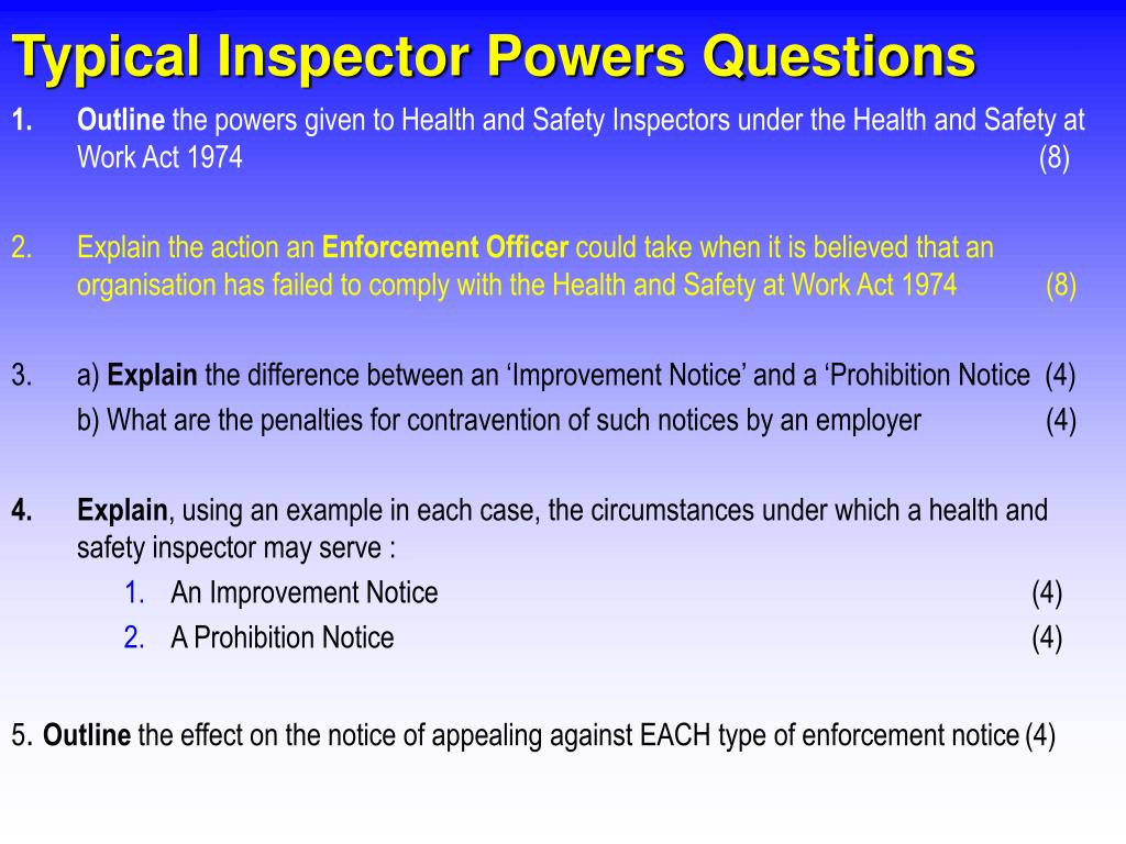 Typical Inspector Powers Questions