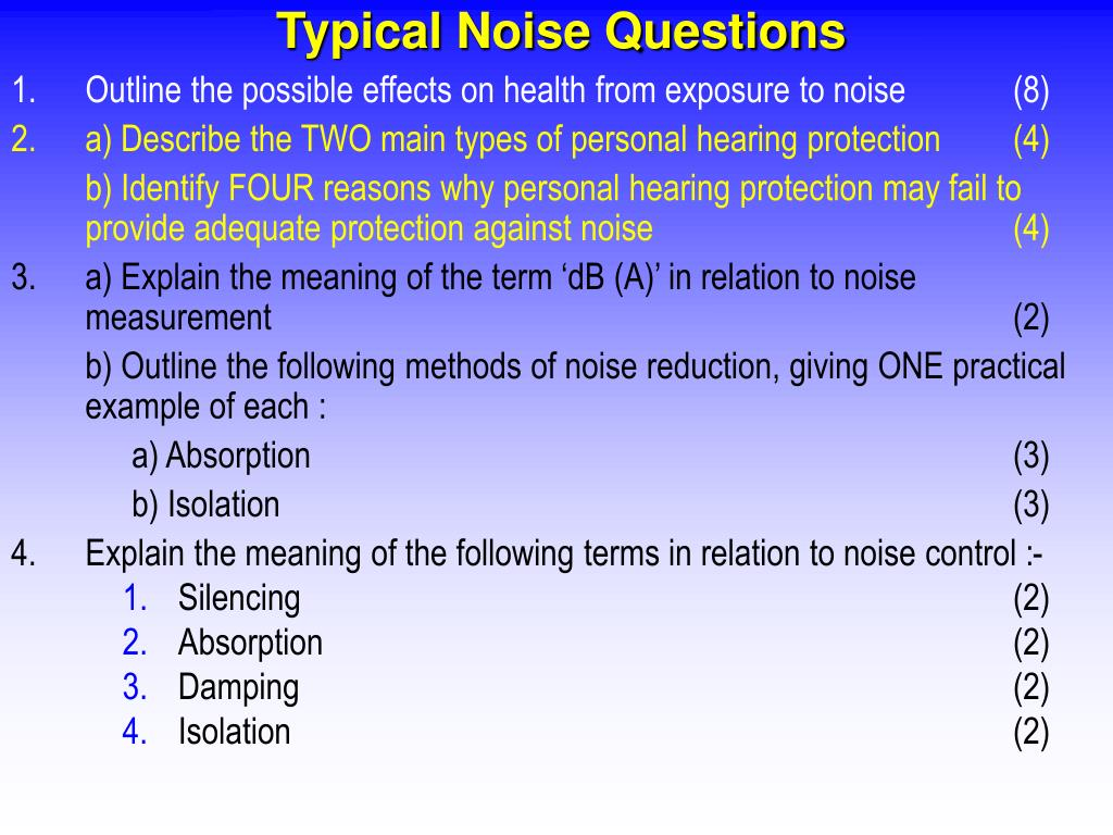 Typical Noise Questions