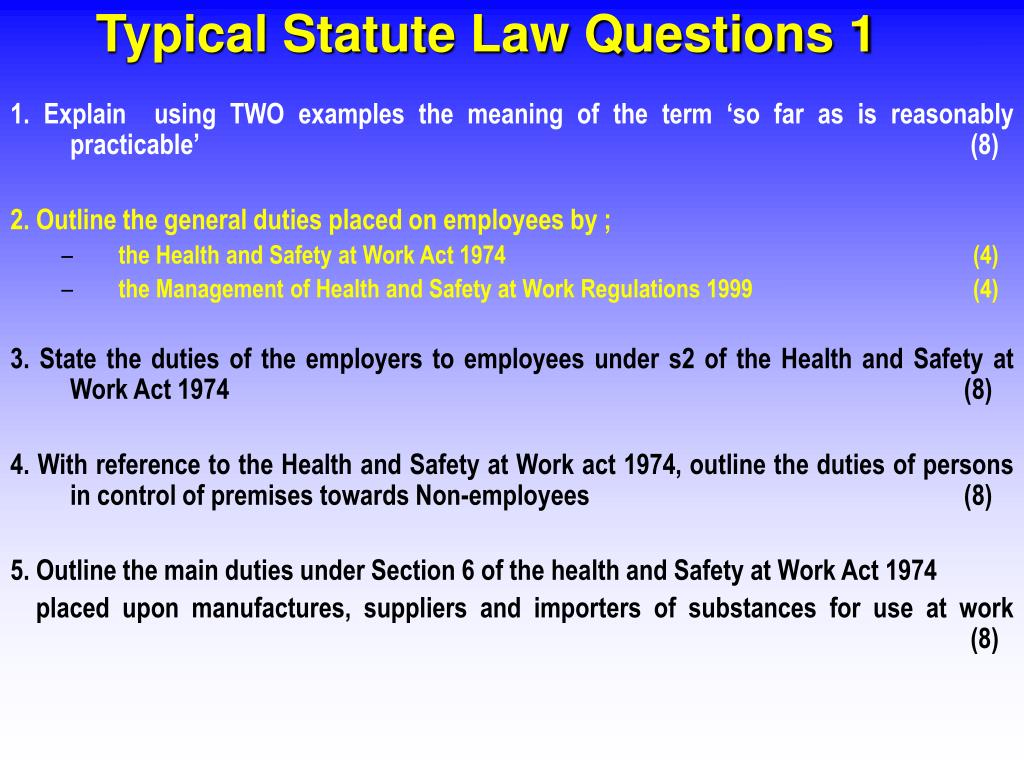 Typical Statute Law Questions 1