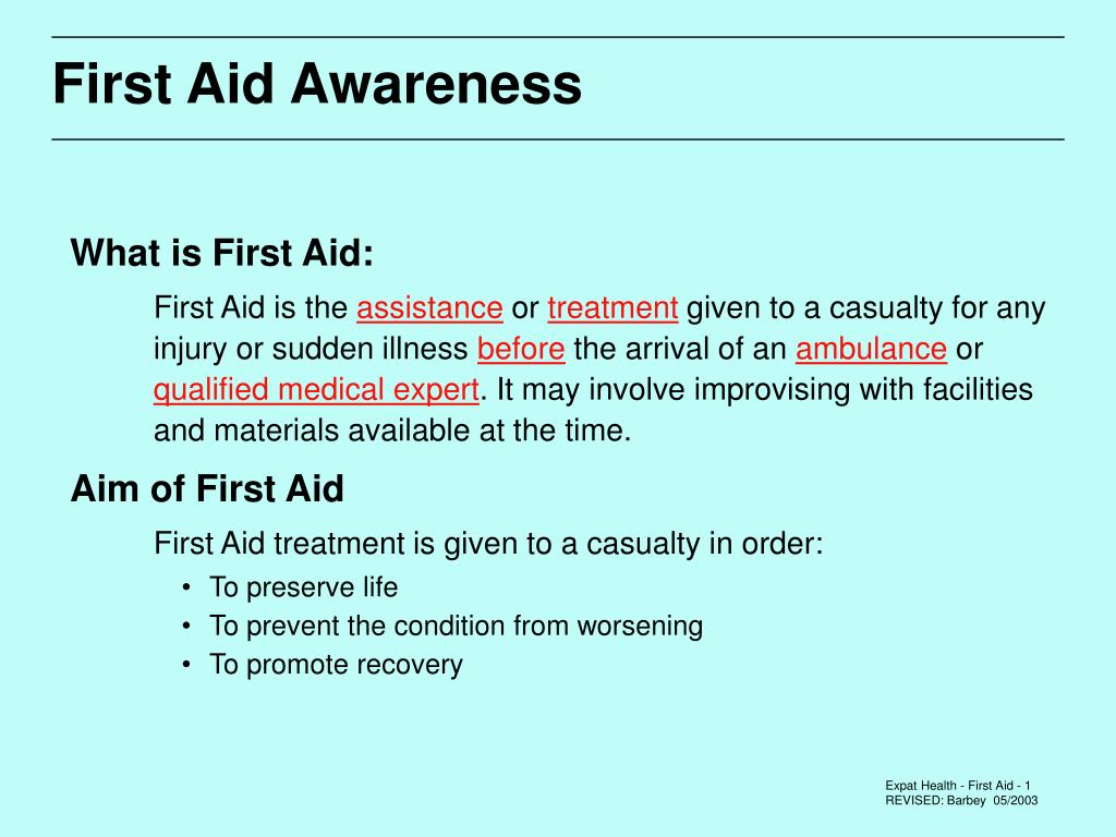 first aid awareness l.
