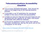 telecommunications accessibility checklist