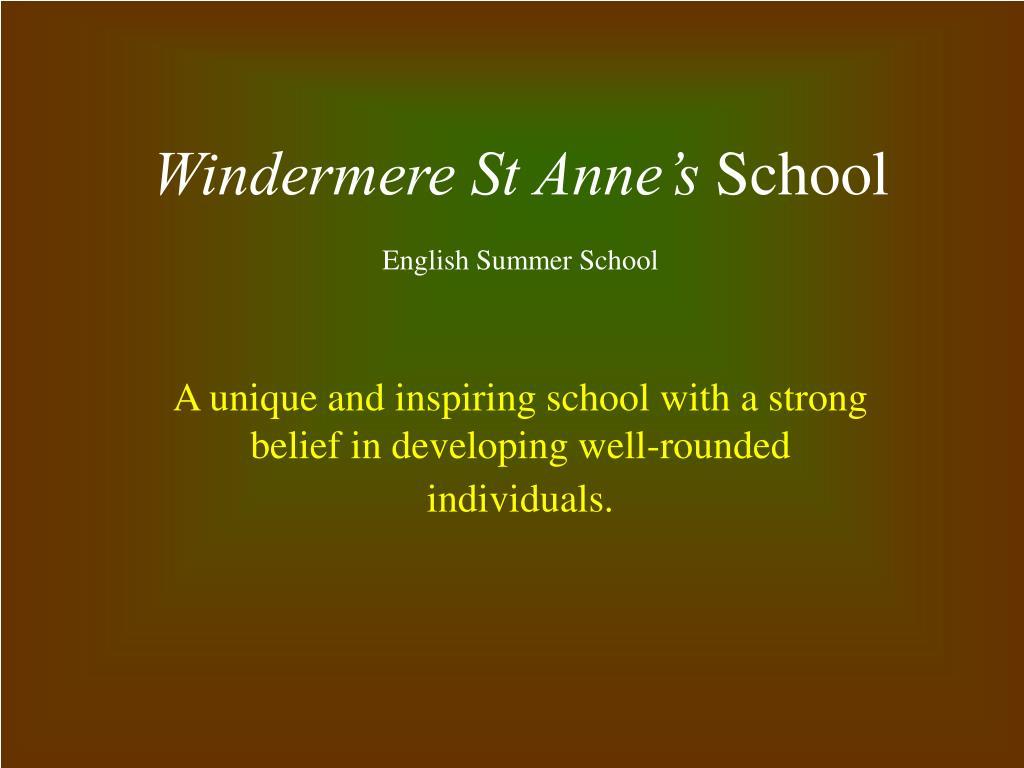 windermere st anne s school english summer school l.