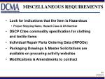 miscellaneous requirements
