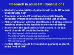 research in acute hf conclusions