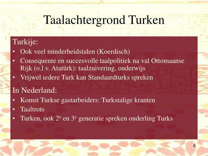 Taalachtergrond Turken