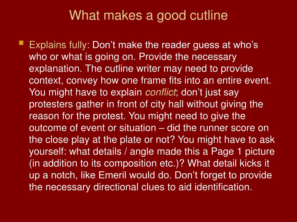 What makes a good cutline