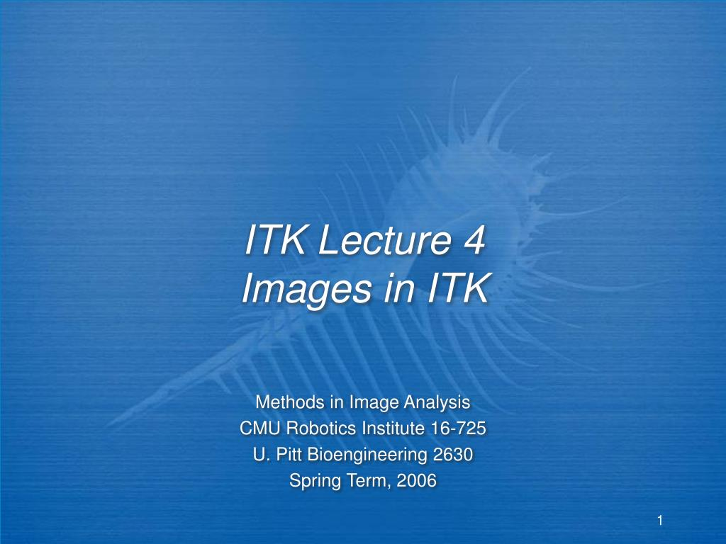 itk lecture 4 images in itk l.