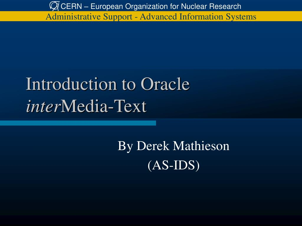 introduction to oracle inter media text l.