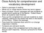 cloze activity for comprehension and vocabulary development