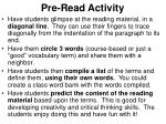 pre read activity