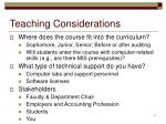 teaching considerations