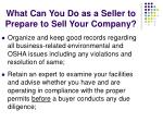 what can you do as a seller to prepare to sell your company