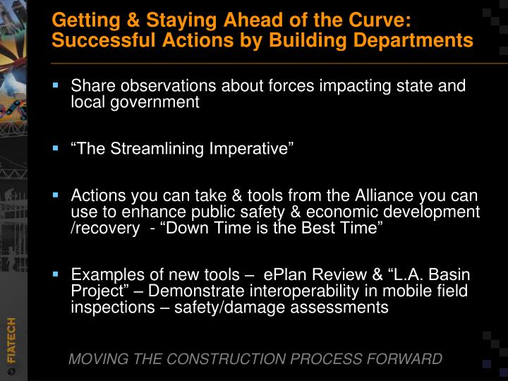 Getting staying ahead of the curve successful actions by building departments