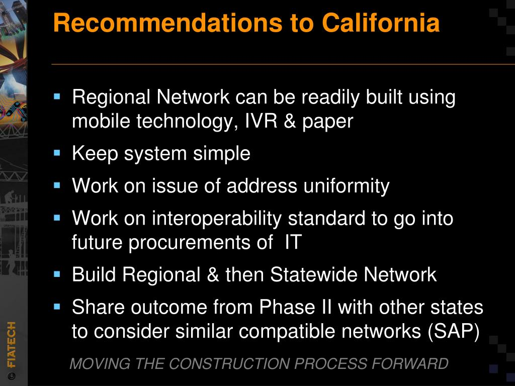 Recommendations to California