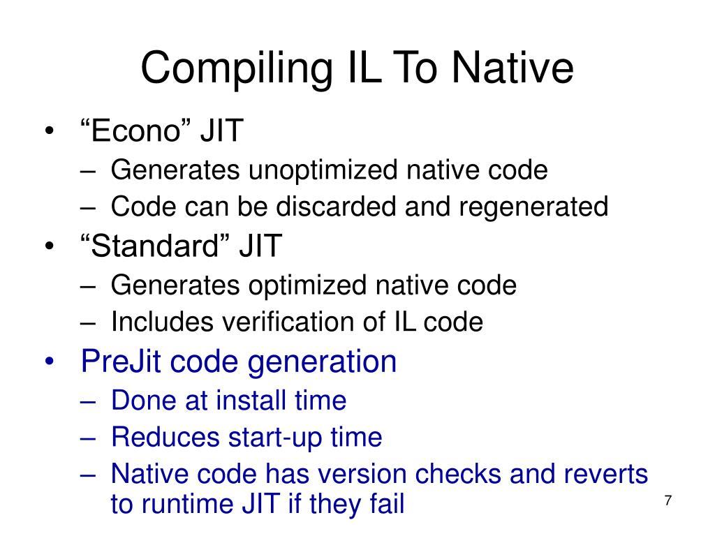 Compiling IL To Native