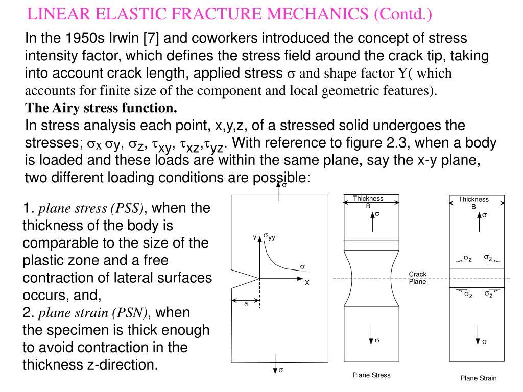 LINEAR ELASTIC FRACTURE MECHANICS (Contd.)