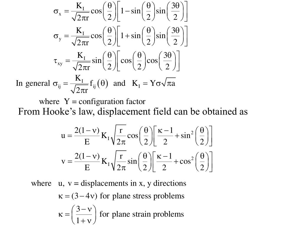 From Hooke's law, displacement field can be obtained as