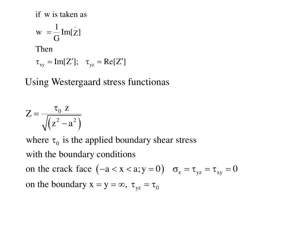 Using Westergaard stress functionas